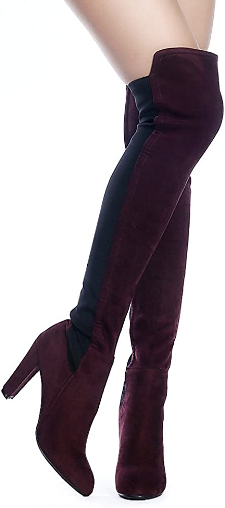 ShoeN Tale Women Faux Suede Chunky Heel Stretch Over The Knee Thigh High Boots
