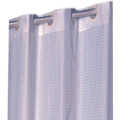 Checks White EZ On Hookless Fabric Extra Long Shower Curtain with built in shower curtain hooks, 70