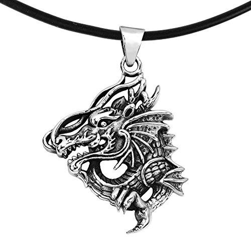 Detailed Dragon Sterling Silver Ring - AeraVida Detailed Clawing Dragon .925 Sterling Silver Black Rubber Pendant Necklace