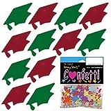 Confetti Grad Cap Green, Red Combo - 8 Half Oz Pouches (4 oz) FREE SHIPPING --- (8405/8409)