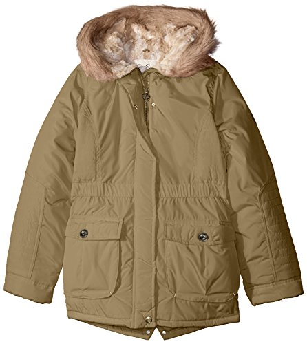 Hood Parka Girls' Rail Heavyweight Faux Big Simpson Jessica Fur Quilted Green BwH4z