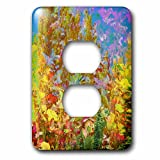 3dRose Jos Fauxtographee- Blended Layers Autumn - Fall colors in a blended layer with a cabin in orange and yellow - Light Switch Covers - 2 plug outlet cover (lsp_266283_6)