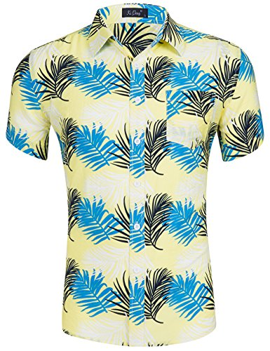 XI PENG Men's Tropical Short Sleeve Palm Tree Leaves Beach Aloha Hawaiian Shirt (Yellow Blue Palm Leaf, Medium)