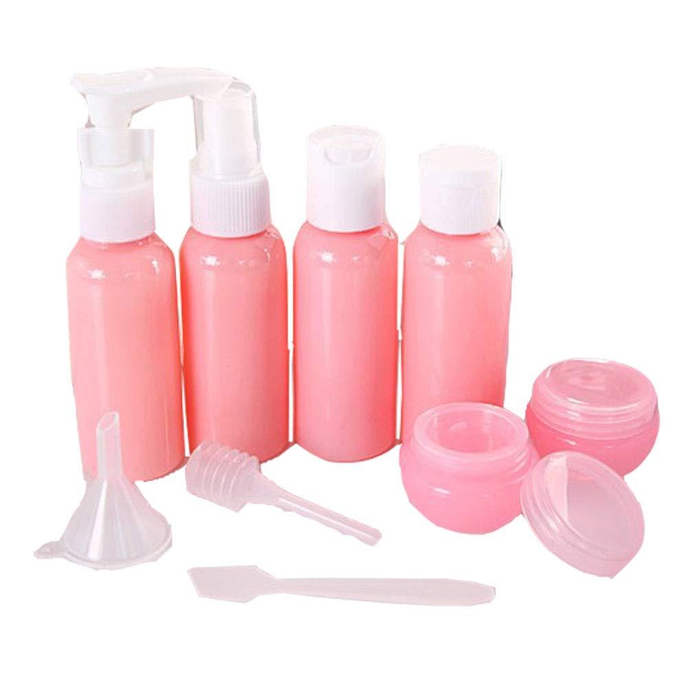 EXQUILEG 9 stück Nachfüllbare Tragbare Reise Flaschen Set Leere Reiseflaschen Kosmetik Container Flüssigkeitsbehälter für Shampoo, Conditioner, Lotion, Creme (Pink)