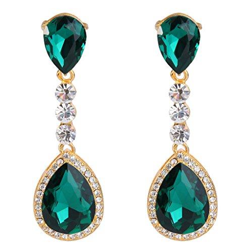 Fancy Earrings Jewelry (BriLove Women's Wedding Bridal Crystal Teardrop Infinity Figure 8 Chandelier Dangle Earrings Gold-Tone Emerald Color)