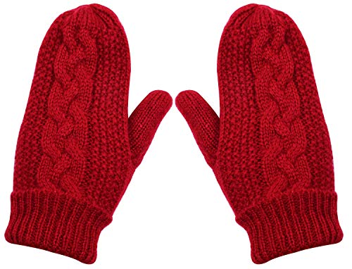 SUNNYTREE Kids Knit Mittens Winter Warm Thick Fleece Lining Red (Knit Kids Mitten)