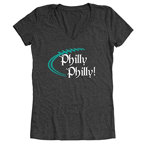 Funny Threads Outlet Philly Philly Philadelphia Eagles Women's Relaxed Fit V-Neck Tri-Blend T-Shirt Heather Black - The Philadelphia Premium Outlets