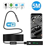 WiFi Endoscope, Semi-rigid Wireless Borescope Inspection Camera 1200P HD Snake Camera for Android and IOS Smartphone, iPhone, Samsung, Tablet,16.5FT(5M) - Skybasic