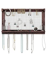 Rustic Jewelry Organizer – Wall Mounted Jewelry Holder Organizer with Removable Bracelet Rod and 16 Hooks – Perfect Earrings, Necklaces and Bracelets Holder – Vintage Jewelry Display – Torched Brown