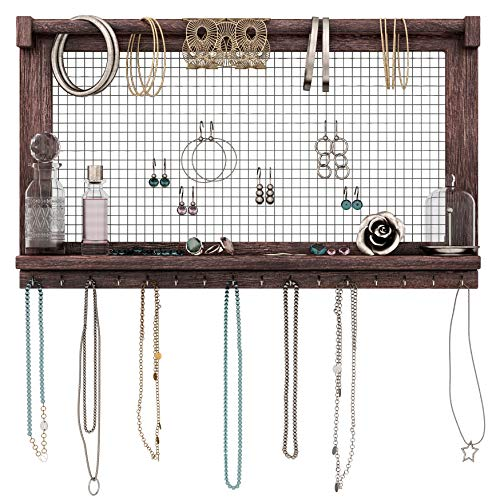 Rustic Jewelry Organizer - Wall Mounted Jewelry Holder with Removable Bracelet Rod, Shelf and 16 Hooks - Perfect Earrings, Necklaces and Bracelets Holder - Vintage Jewelry Display - Torched Brown