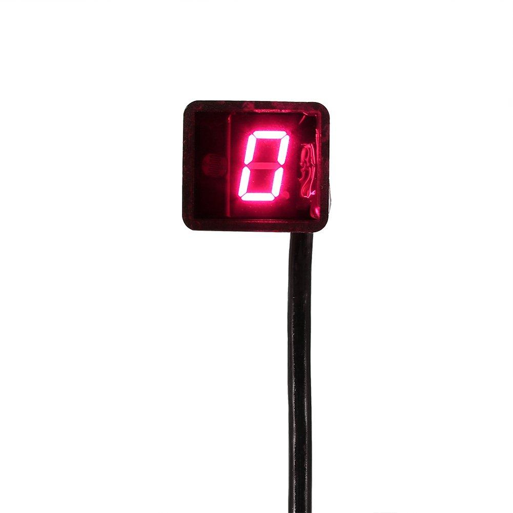 Indicador Digital de Engranajes Universal 8/Velocidad LED Pantalla Yosoo Indicador de Marcha de Motocicleta Impermeable Palanca de Cambio Sensor Rojo