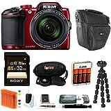 Nikon COOLPIX B500 Digital Camera (Red) with Sony 32GB Card & Focus Accessory Bundle