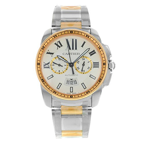 Cartier Calibre de Cartier Silver Dial Steel and 18kt Pink Gold Automatic Mens Watch W7100042