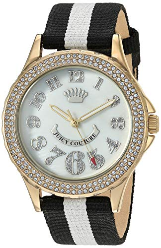 Bling Couture - Juicy Couture Black Label Women's  Swarovski Crystal Accented Black and White Nylon Strap Watch