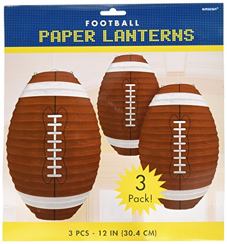 Amscan Football Frenzy Birthday Party Hanging Lanterns Decoration, Multi Color, 12 x 11