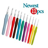 Super Nova 11 Sizes 2-8mm Crochet Hooks11pcs Kit,Comfort Ergonomic Grip TPR Soft Rubber Handle Aluminum Knitting Needles
