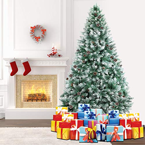 SHareconn 7.5ft Unlit Artificial Hinged Christmas Tree Snow Tree with Pine Cones, 2000 Branch Tips and Metal Stand