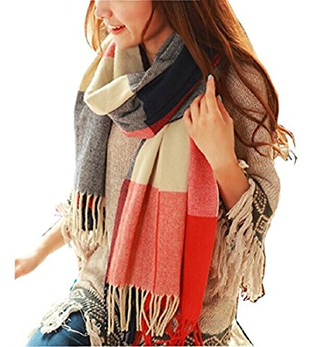Wander Agio Women's Fashion Long Shawl Big Grid Winter Warm Lattice Large Scarf Orange Red Winter ()