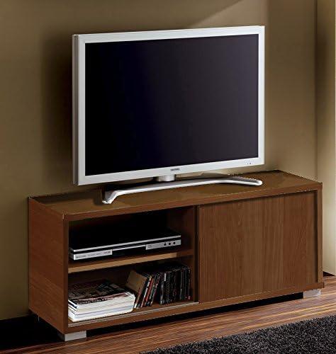 Abitti Mesa de TV módulo bajo Multimedia Color wengué con Puerta corredera y 4 estantes. Mueble de salón Comedor. 109cm Ancho x 40cm Fondo x 46cm Altura: Amazon.es: Hogar