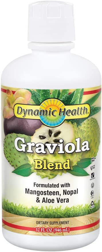 Dynamic Health Graviola Blend | Juice Formulated with 100% Organic Graviola, Mangosteen, Aloe Vera & Nopal | Vegetarian, No Gluten or BPA | 32oz