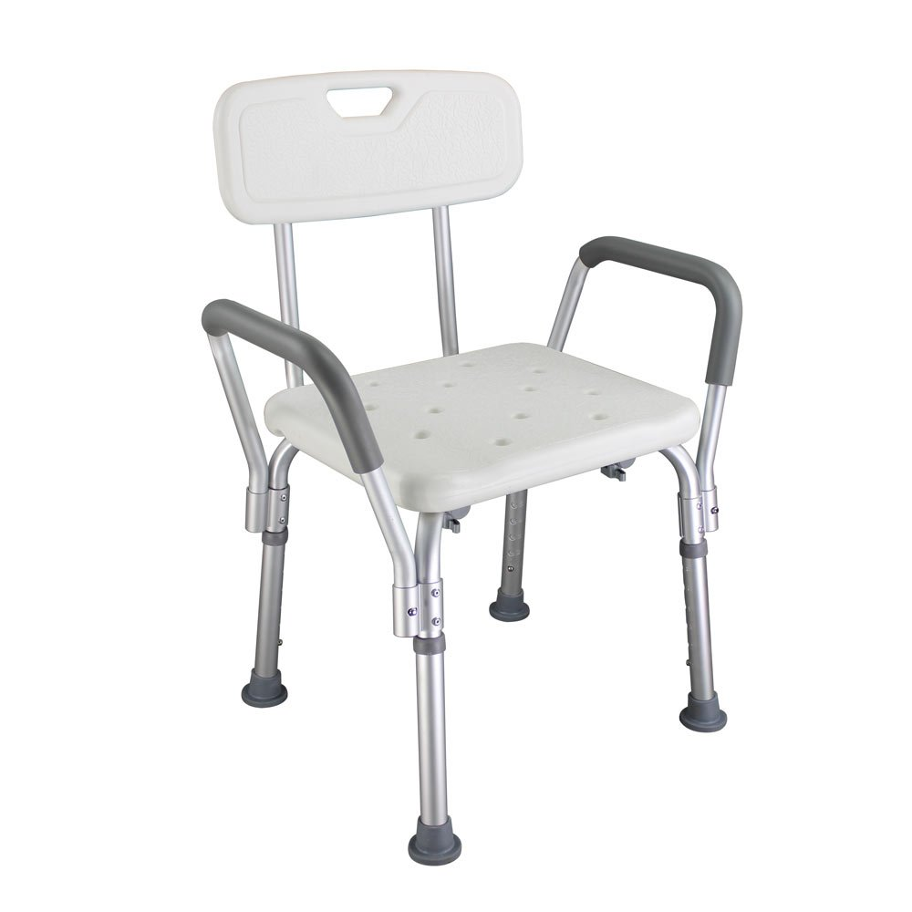 Mefeir 450 LBS Medical Shower Bath Seat Bathroom Spa Chair,FDA Approved No-Slip 6 Adjustable Height,Bathtub Stool Benches Lightweight,No Tools Assembly(with Back & Arms)