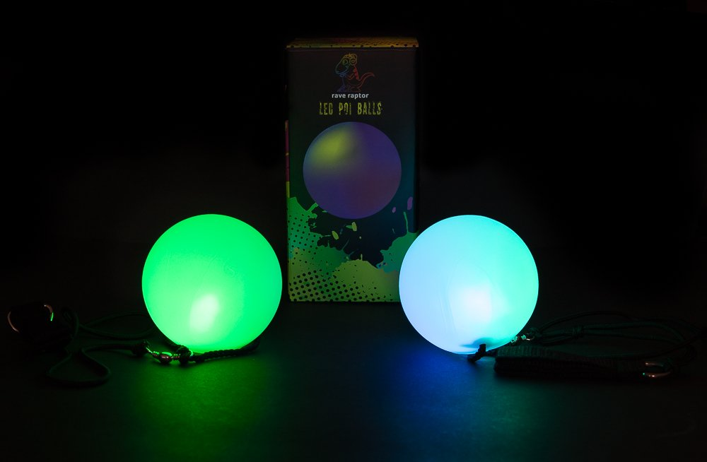 Rave Raptor LED Poi Balls Perfect for Beginners and Intermediate Spinners 80mm Contact Poi