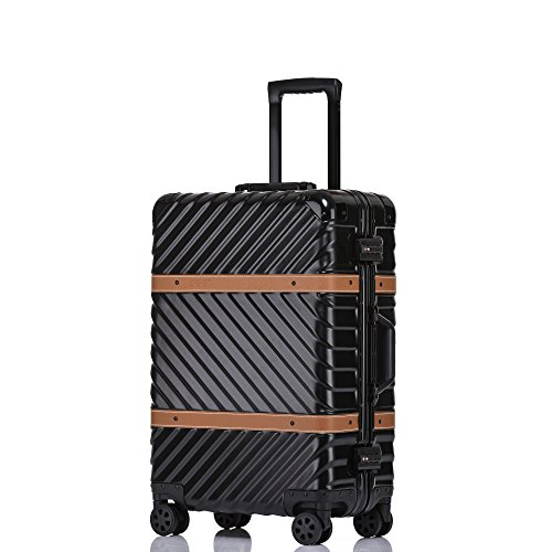 Aluminum Frame Luggage Hardside Fashion Suitcase with Detachable Spinner Wheels 24 Inch ()