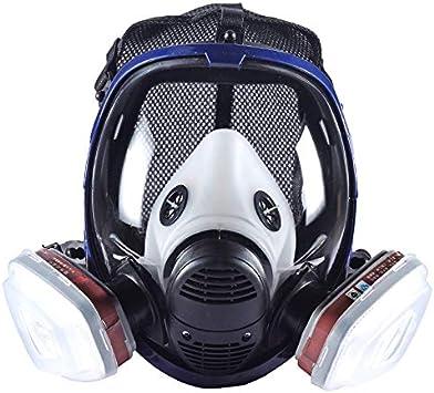 Máscara respiradora de Vapor 15 en 1 orgánica para Pintar plaguicidas químicos de Cara Completa con Doble Filtro de carbón Activado para carpintería y protección contra el Polvo