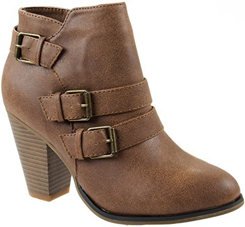 Forever Women's Buckle Strap Block Heel Ankle Booties, Tan 7