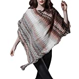 XILALU Womens Tassels Cloak Tops,Chic Multicolor Knitted Sweater Easy Blouse Shawl Pullover Autumn Winter Coat Outwear
