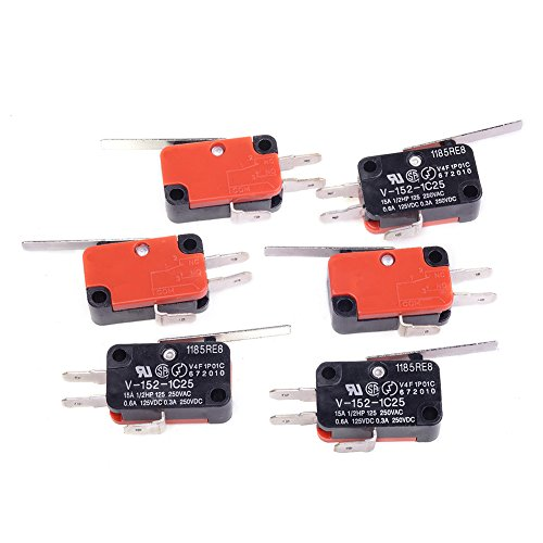 Cylewet 6Pcs V-152-1C25 3P Short Straight Hinge Lever Type Miniature Micro Limit Switch SPDT 1NO 1NC (Pack of 6) CYT1079