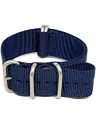 DaLuca Ballistic Nylon Military Watch Strap - Navy (Matte Buckle) : 24mm