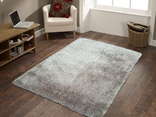 Shag Viscose Solid Silver Grey Area Rug Hand Tufted Rug~ 5 x 7 hand made ON SALE!