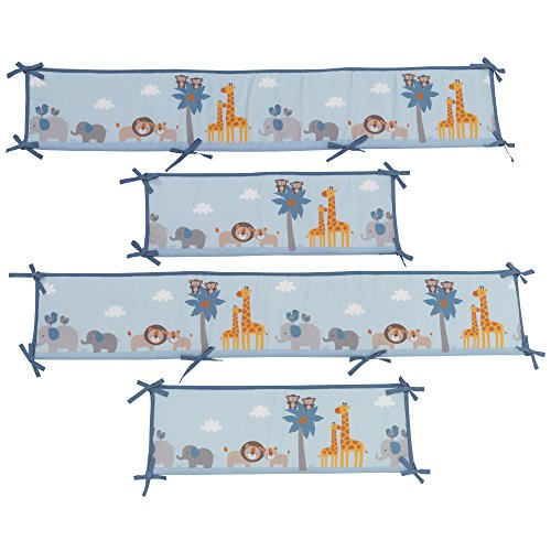 o By Two Noah's Ark 4 Piece Crib Bumper, Blue/Gray (Animal Ark Crib)