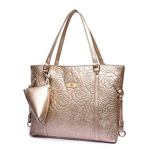 Women Handbag,Women Bag, KINGH Vintage Rose Embossed PU Leather Shoulder (Gold Embossed Handbag)