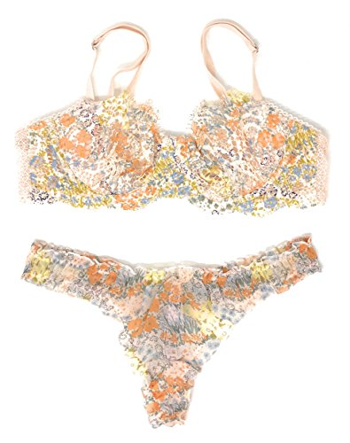 Victoria's Secret Dream Angels Wicked Bra and Thong Panty Set Nude Multicolor 1 36B Medium (Bra And Thong Set Victoria Secret)