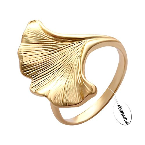 NOUMANDA Golden Ginkgo Leaf Ring,Inspired by Nature Finger Ring Women Jewelry (6)
