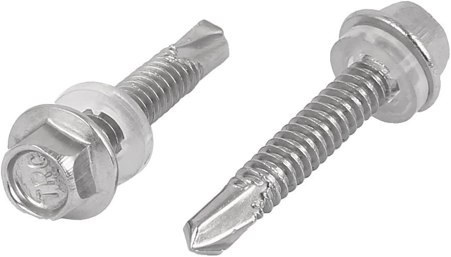 Uxcell a16062700ux0555 M5.5 x 32mm Thread 410 Stainless Steel Self Drilling Tek Screw with Washer