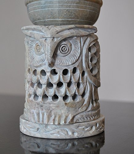 Owl Shaped Oil Diffuser with Tea Light Holder Soapstone 4
