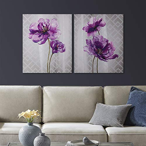 2 Portrait Piece Toilet (Décor 5 - Printed Canvas Set - 2 Pieces, 20'' x 24'' - Flourish - Purple, Grey, Floral)