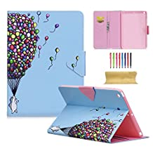 iPad Air 9.7 Inch Case, UUcovers Premium PU Leather Stand Slim Wallet Case [Card Slots & Cash Pocket] Folio Flip Magnetic Smart Cover with Auto Sleep/Wake Feature for Apple iPad Air 1, Rainbow Ballon