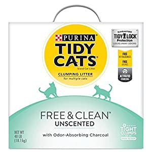 Purina Tidy Cats Clumping Cat Litter; Free & Clean Unscented Multi Cat Litter - 40 lb. Box 77
