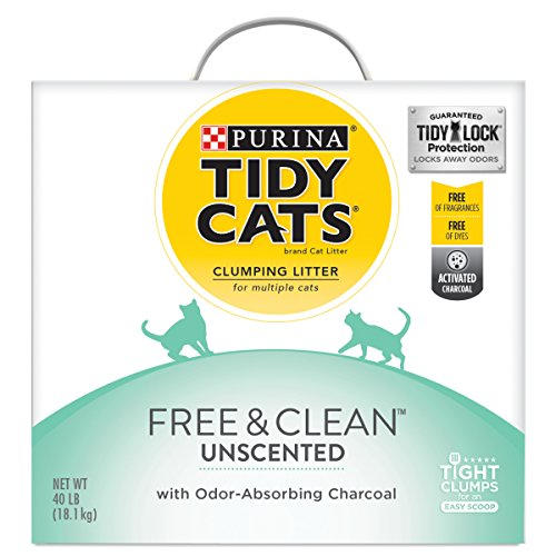 Purina Tidy Cats Clumping Cat Litter; Free & Clean Unscented Multi Cat Litter - 40 lb. Box (Best Clumping Cat Litter For Multiple Cats)