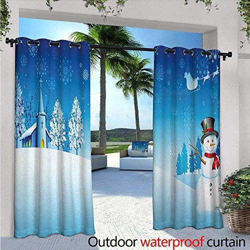 Hamptons Sleigh - Christmas Outdoor Privacy Curtain for Pergola W72 x L96 Snowman on The Christmas Eve Santas Sleigh in The Starry Sky Fantasy Artwork Thermal Insulated Water Repellent Drape for Balcony Blue White