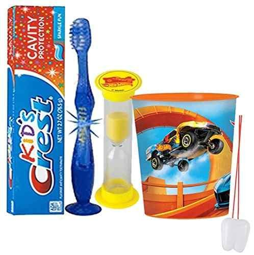 "Hot Wheels Inspired 4pc Bright Smile Oral Hygiene Set! Flashing Lights Toothbrush, Toothpaste, Brushing Timer & Mouthwash Rinse Cup! Plus Bonus ""Remember To Brush"" Visual Aid!"