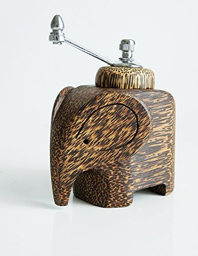 Plawanature Elephant Figure Sugar Palm Wood Pepper Grinder.