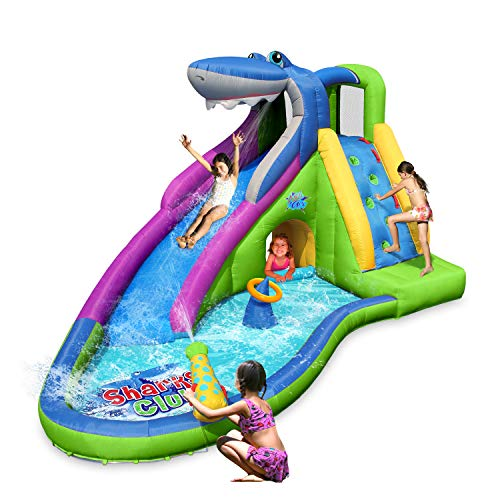 ACTION AIR Inflatable Waterslide, Animal Shark Bounce House with Slide for Wet and Dry, Playground Sets for Backyards, Water Gun & Splash Pool, Durable Sewn with Extra Thick Material, Idea -