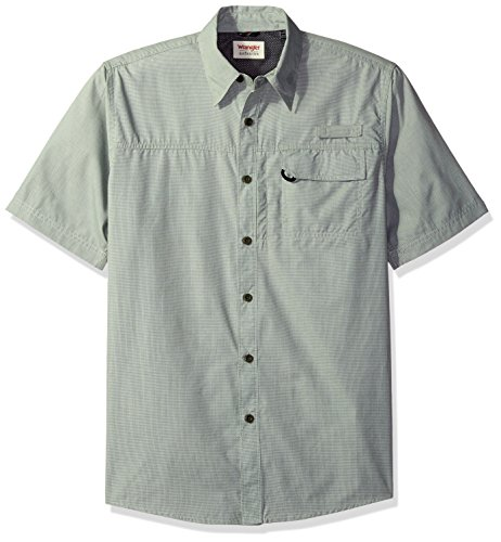 Wrangler Authentics Men's Big & Tall Short Sleeve Utility Shirt, Grape Leaf Micro Check, 2XL, Grape Leaf Micro Check, 2XL (Short Shirt Sleeve Work Check Micro)