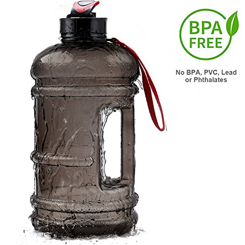 2.2 Liter Sport Drinking Water Bottle BPA Free Plastic Big Capacity Large Leakproof Water Jug Container with Carrying Loop Water Bottle for Outdoor Sports Fitness Gym Workout Hiking & (Plastic Drinking Water)