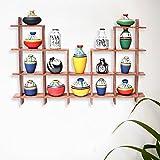 ExclusiveLane 16 Terracotta Warli Handpainted Pots With Sheesham Wooden Frame Wall Hanging-Wooden Wall DÃcor Art Decorative Shelves Vases Home DÃcor